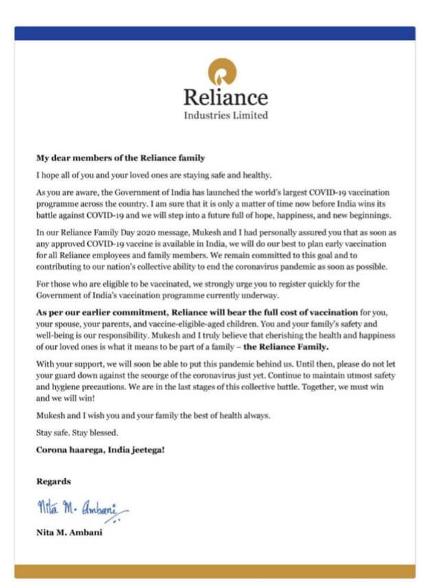 Reliance provide free vaccine to employees and family