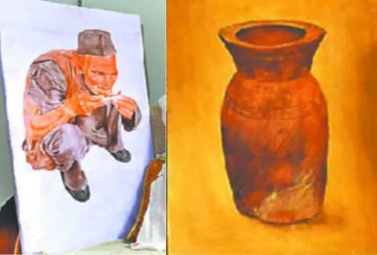 A teacher from Uttarakhand is making painting from cow's dung and urine