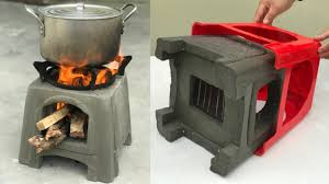 creative firewood stove from plastic chair