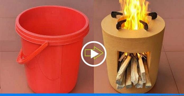 Make firewood stoves with bucket